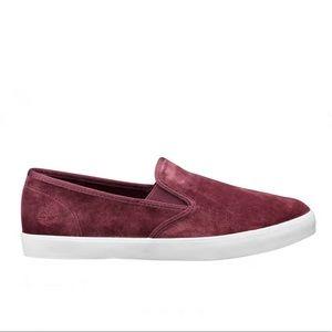 Timberland Dausette slip on velvet burgundy shoes